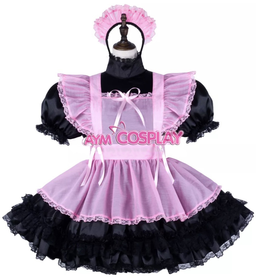 Black and Pink Sissy Maid Dress
