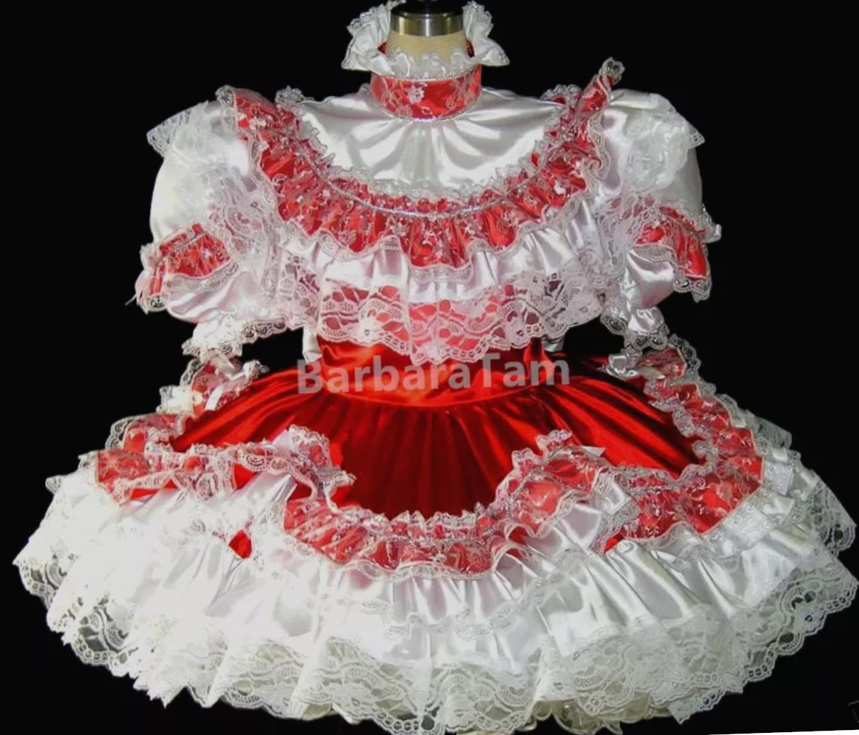 Red Floral Trim Sissy Maid Dress