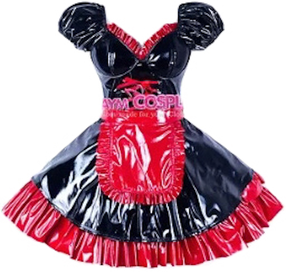 Black And Red PVC Sissy Maid Dress